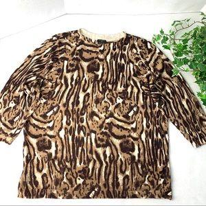 Talbots Woman 3X Merino Wool Animal Print Sweater